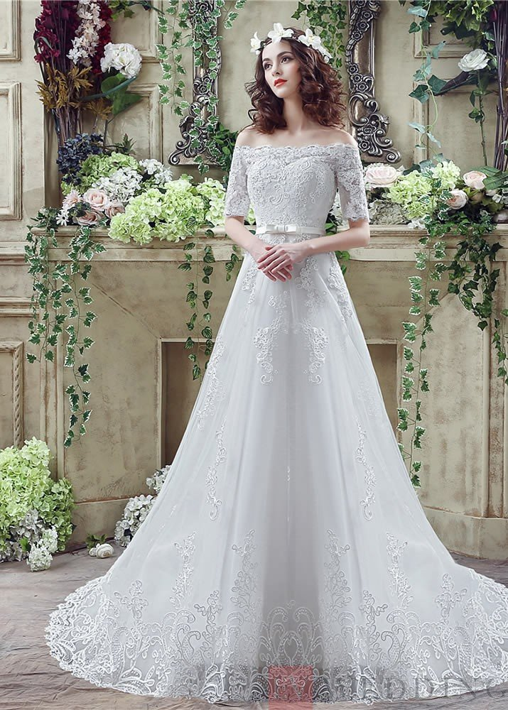d938159e9d1 ... Recommended A Line Floor Length Off Shoulder Lace Wedding Dress ...