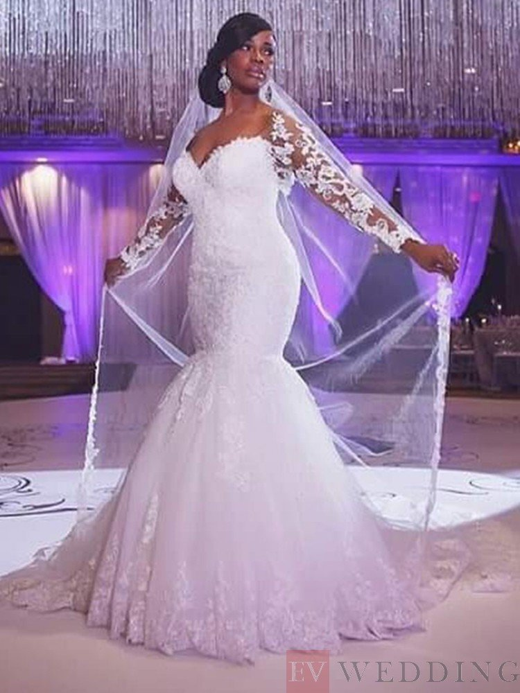 Appliques Off-The-Shoulder Neck Long Sleeves Trumpet/Mermaid Wedding ...