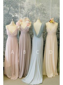 Long V-Neck Spaghetti Straps Ruched Chiffon Cheap Bridesmaid Dresses  there are two styles in the picture