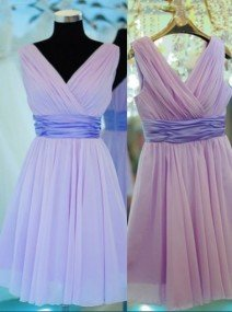 Fashion A-Line V-Neck Mini Lavender Bridesmaid Dress with Sash