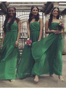 A Line Strapless Pleated Ankle Length Green Bridesmaid Dress with Ruffles