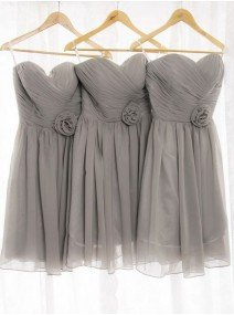 A-Line Princess Sweetheart Chiffon Short Mini Bridesmaid Dress