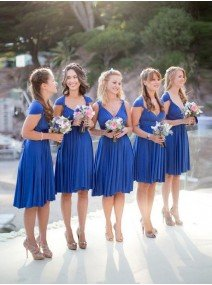 A-Line Princess V-neck Short Mini Chiffon Bridesmaid Dress