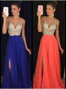 A-Line Princess V-neck Sleeveless Floor-Length Chiffon Dresses with Beading