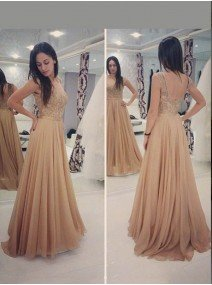 A-Line Princess Scoop Sleeveless Floor-Length Chiffon Dresses with Applique
