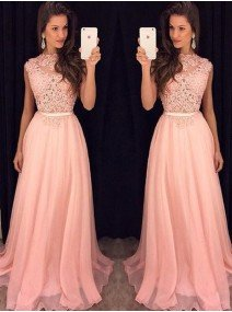 A-Line Princess High Neck Sleeveless Chiffon Floor-Length Dresses