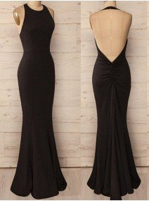 Trumpet Mermaid Halter Sleeveless Floor-Length Spandex Dresses