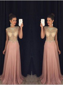 A-Line Princess Sleeveless Scoop Beading Chiffon Sweep Brush Train Dresses
