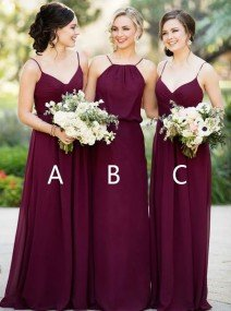 A-Line Princess Floor-Length Chiffon Bridesmaid Dress