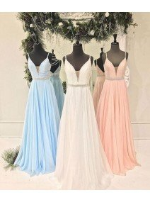V Neck Chiffon Sequin Long Prom Dress/Cute Formal Dress