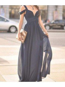 Cute Gray A-Line Off Shoulder Long Prom Dress For Teens/Bridesmaid Dress