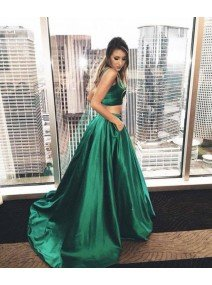 Green Satin Two Pieces Long Prom Dress/Green Evening Dress