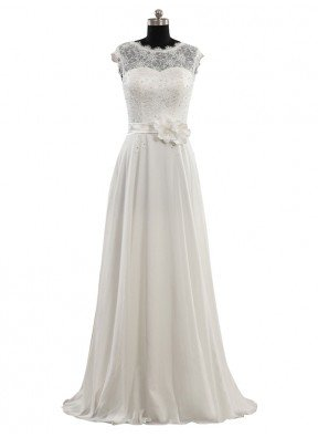 Beading And Flower A-line Chiffon Floor-length Lace Wedding Dress With Cap Sleeves